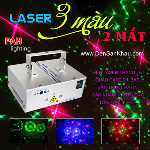 Máy chiếu Laser 2 mắt 3 màu RGB 6 hiệu ứng