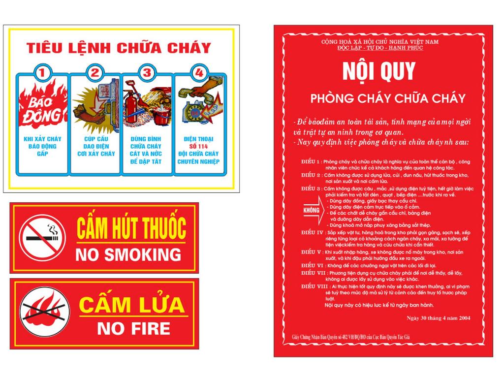 Bộ nội quy - tiêu lệnh - cấm lửa - cấm thuốc